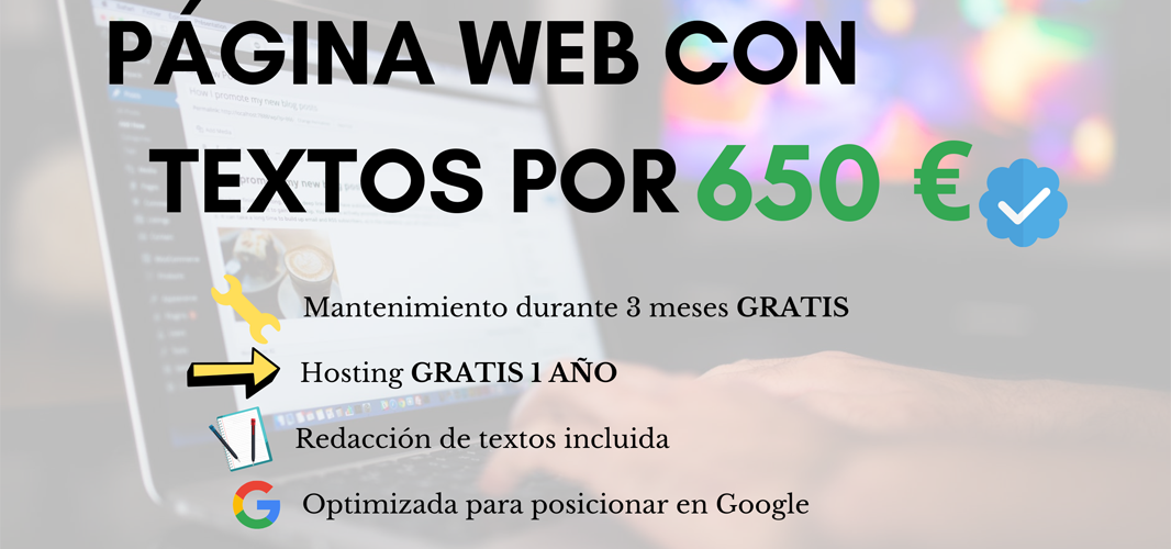 Web optimizada con textos 650 €